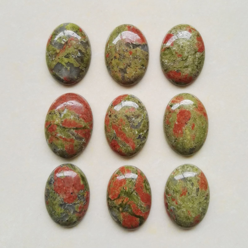 Wholesale 25mmx18mm Natural unakite stone Oval CAB CABOCHON (green flower) stone beads teardrop Free shipping 12pcs/lot