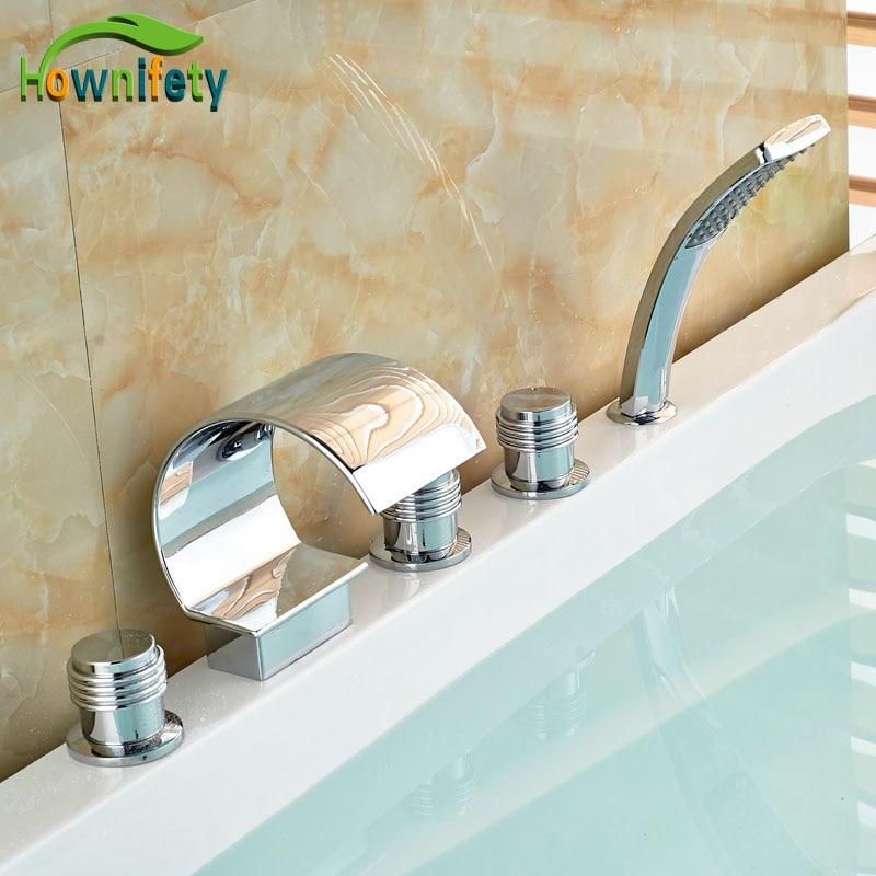 ABS Hand Shower Tap Brass Chorme Polish Tub Faucet Bathroom 5pcs Sink Tap Mixer Faucet elegant chorme polish tub faucet bathroom 5pcs faucet hot
