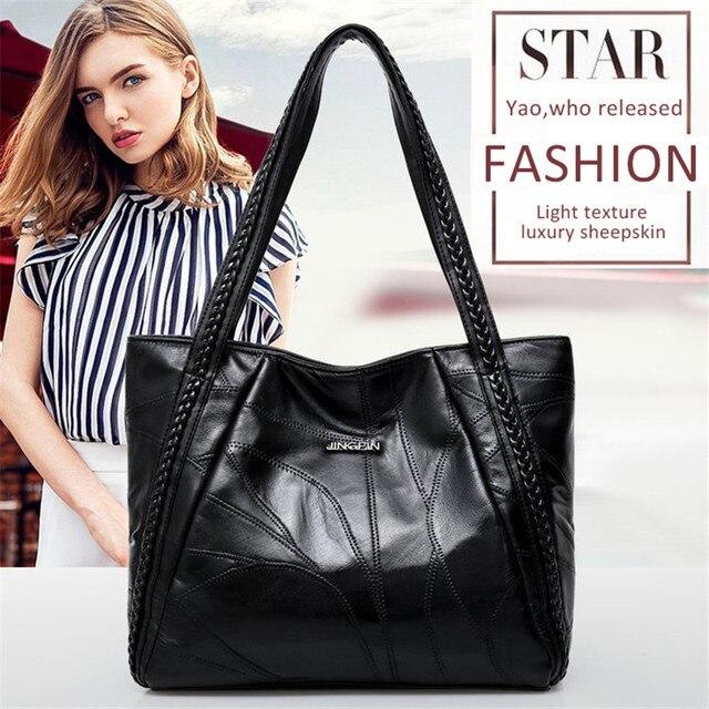 Women Tote Bag Genuine Sheepskin Patchwork Casual Hand Bags Big Capacity Woman Shoulder Bag Large Ladies Shopping Bags 2019 1