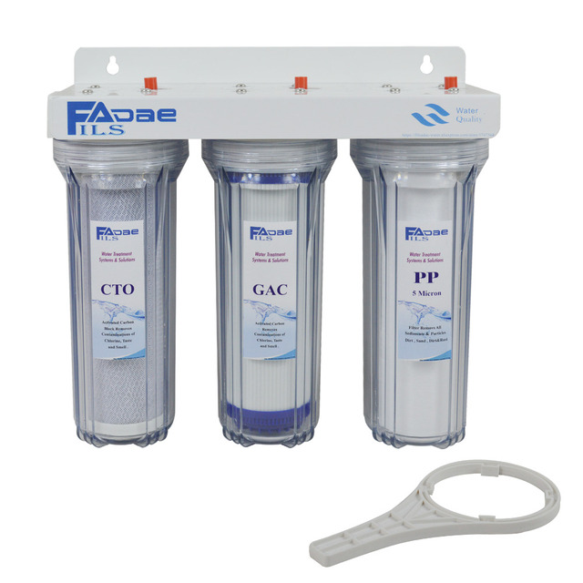 Perfect 10inch Three Stage Whole House Water Filtration System With Inletu0026outlet  Size 3/