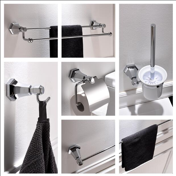 New Modern Sanitary Hardware Set Chrome Finished Bathroom Accessories Products Towel Holder Towel Bar