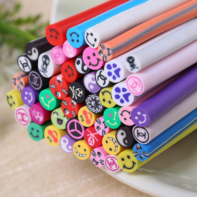 50 Rods Polymer Clay Nail Art Decorations Smile Bear Foot Prints ...
