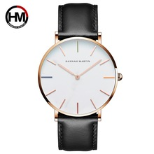 2019 Luxury Brand HM Watch Women Dress Fashion Rose gold Quartz Watches Female Leather strap Wristwatches Water Resistant