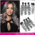 3pcs with closure human hair grey brazilian body wave silver grey hair extensions grey weave bundles with closure free shipping