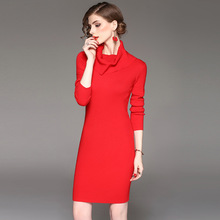 New 2017 Autumn Winter Women s Fashion Slim Elastic Turtleneck Long Sleeve Knitted Sweater Dress Ladies