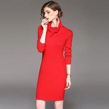 b45cc75311e New 2017 Autumn Winter Women s Fashion Slim Elastic Turtleneck Long Sleeve  Knitted Sweater Dress Ladies Christmas Red Dresses