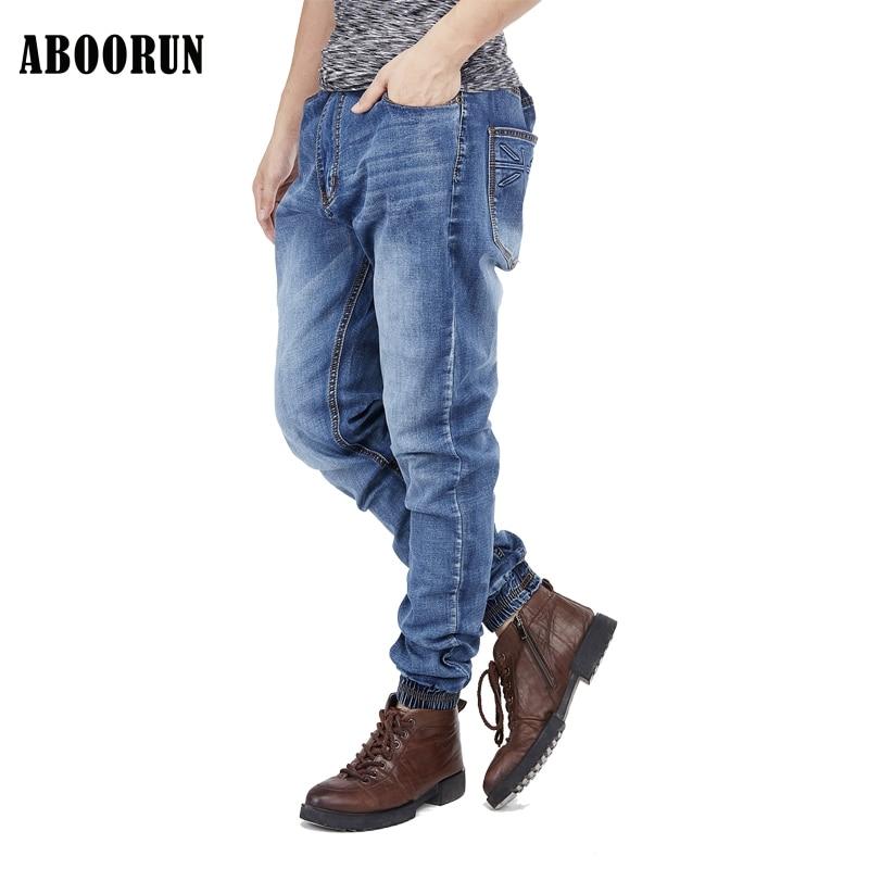 ABOORUN Big Size Skinny Jeans Men Jogger Pants 2017 Top Quality Fashion Elastic Waist Jeans Cotton Denim Trousers W2191 lg lb645129t1