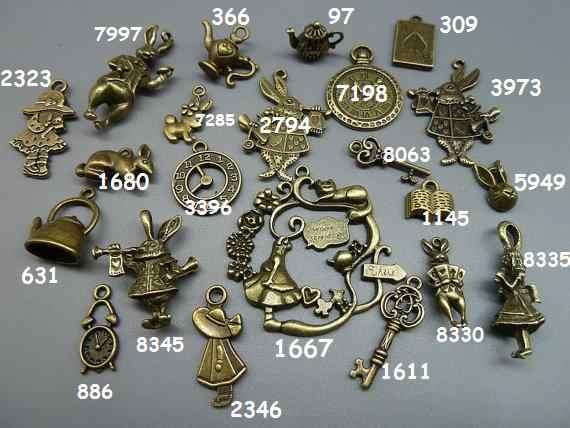 20шт Модные Подвески Кролик Алиса Бронза Серебро Алиса в стране чудес подвески, часы, ключ, чайник, покер