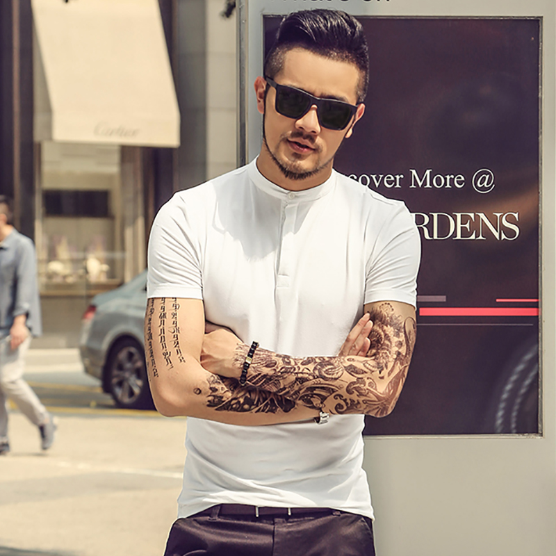 Brand Mens Solid   Polo   Paul shirt Masculina For Men Fashion Man Casual Henry collar Slim Fit Cotton   Polo   Men XL 2018 Summer