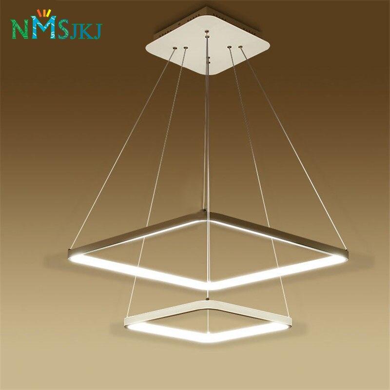 Modern LED Simple Pendant Lights Lamp For Living Room 3 2 1 Square Rings Acrylic Lustre 10 Unique Lustre Pendant Hht5