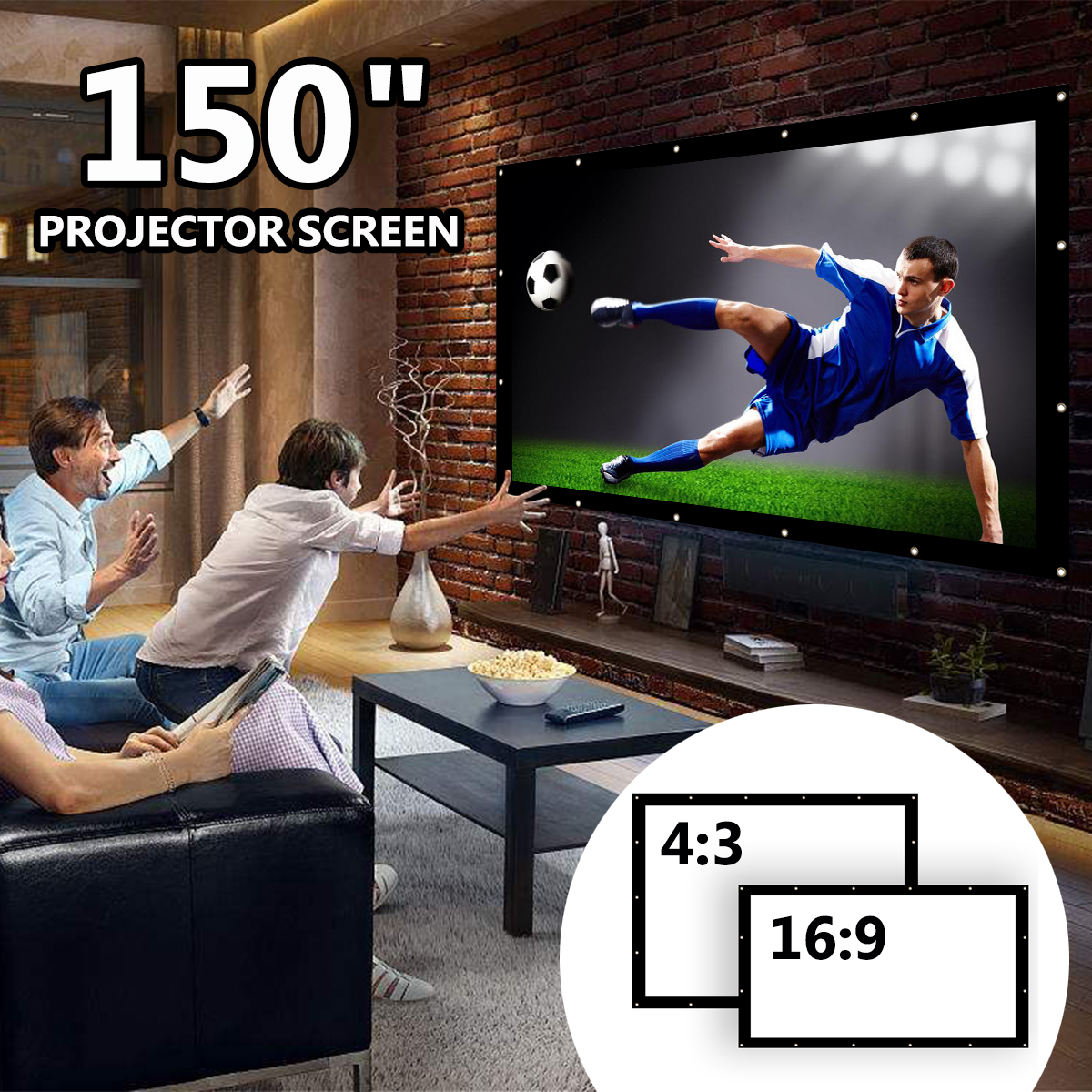 150 Inch 16:9 Portable Projector Screen Simple Foldable Projection Screen Front & Rear Polyester For Home Theater & Outdoor Use support for customfree shipping 120 inch projector mount screen 16 9 gf grey