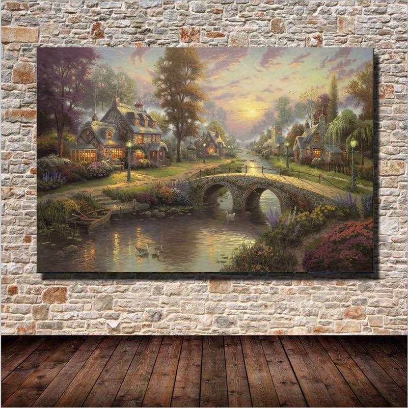 Továrna Pohádka Město Krajina Olejomalba Nástěnné umění Domácí dekorace Plátno Malování pro ložnici Obývací pokoj Bez rámečku