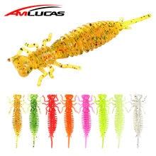 Amlucas larva iscas macias 40mm 50mm wobblers isca de pesca aritificial silicone pesca worm bass pique minnow jigging isca ww1216