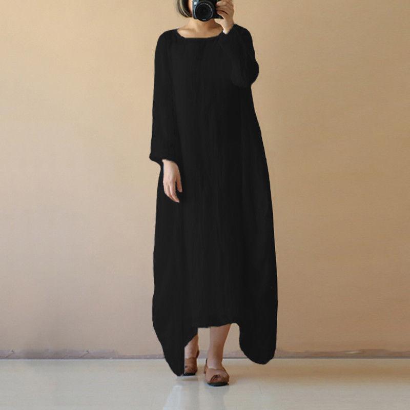 6567d65c1c78 floor length dress Women Cotton Linen Maxi Dress Long Sleeve Casual Boho  Kaftan Basic Long Dresses 2018