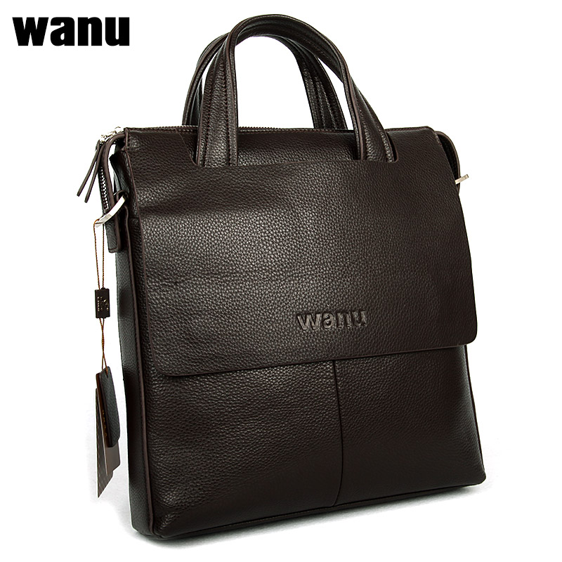 цены  WANU male bag men shoulder bag handbag cow leather bag 2017 new men's vertical business section cow-leather 100 genuine leather