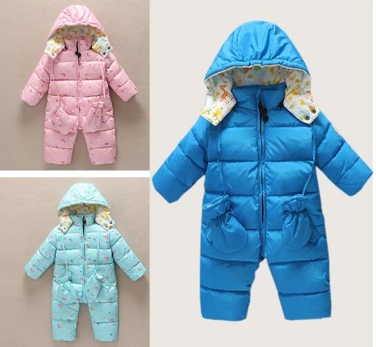 Newborn baby Romper Duck Down infant snowsuit hooded boys girls Jumpsuit overalls kids Winter romper clothes цена