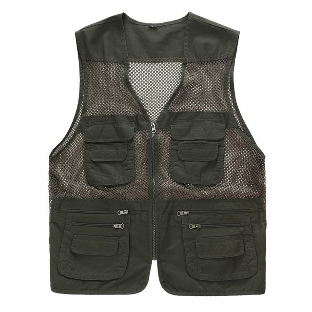 Lightweight Shooting Vest Mesh Waistcoat Many Pockets Mens Gilet Photographer Plus Size Army green Beige Sleeveless Jacket Brand