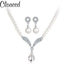 Cloaccd Classic Silver Water Drop Necklace&Earring Set Sweet Zircon Simulated Pearl Design Wedding Party Jewelry for Women