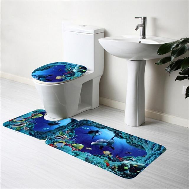 Toilet Pattern Bathroom Decor Non Slip Blue Shark Pedestal Rug Lid Cover