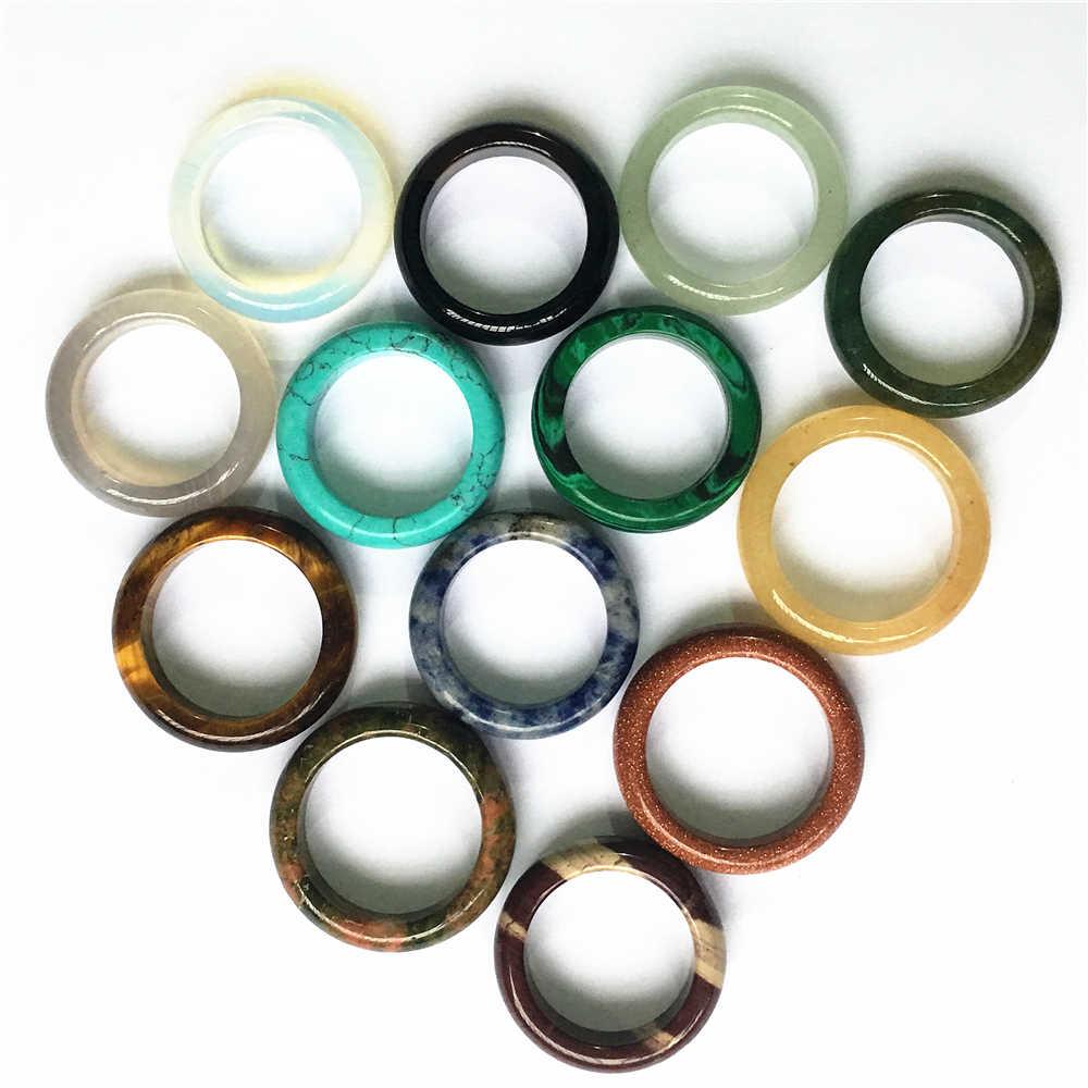 ใหม่คุณภาพสูงนิล Agates Carnelian Opal Sands Unakite แฟชั่นหินธรรมชาติแหวนผู้หญิงผู้ชาย 10 ชิ้น 6 มิลลิเมตร 17 #18 #20 #