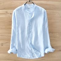 Italy Brand Blue Linen Shirt Men Spring Casual Men Shirts Long Sleeve Solid Shirt Mens Fashion
