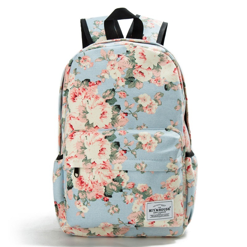 Miyahouse Floral Printing Backpack Women Canvas Travel Mochila School Bag For Teenager Girls Fresh Style Rucksack