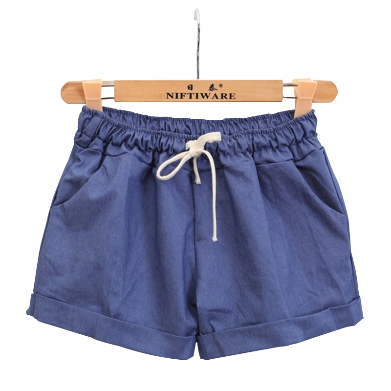 Women' Summer Cotton Shorts Female Plus Size Casual Elastic High Waist Solid Color Short Pants For Ladies feminino D30