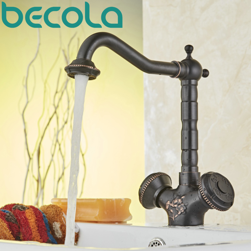 BECOLA Basin Faucets Brass Black Deck Mounted Kitchen Bathroom Sink Faucets Dual Handle Vintage Carving Hot Cold Mixer TapBECOLA Basin Faucets Brass Black Deck Mounted Kitchen Bathroom Sink Faucets Dual Handle Vintage Carving Hot Cold Mixer Tap