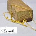 Оптовая продажа персонализированные вашу подпись ожерелье пользовательское имя независимые дизайн табличка ювелирные изделия воротник колье