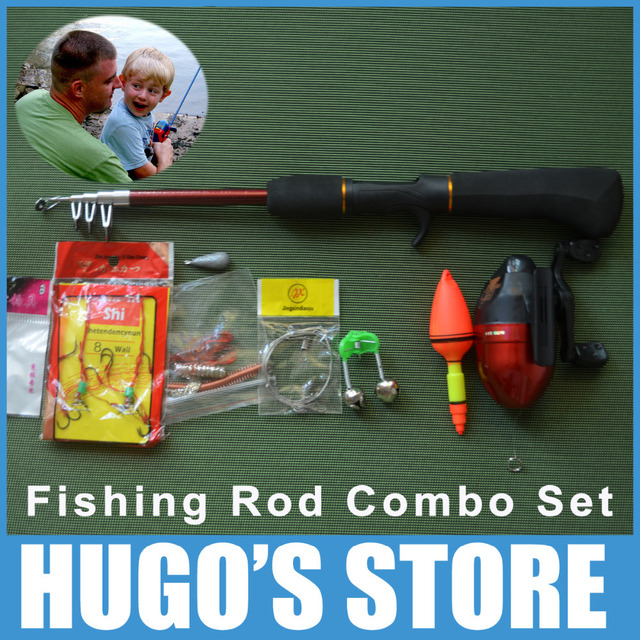 Combo fishing rod pole with fishing reel line hook for Fishing starter kit