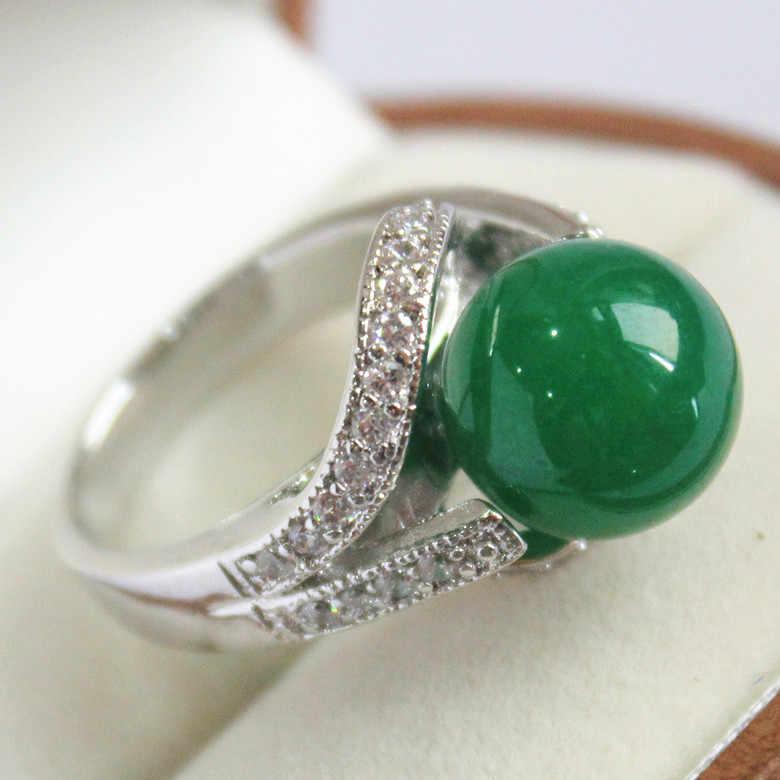 2015ใหม่สีเขียวเข้ม12มิลลิเมตรลูกปัด18พันชุบแพลทินัมฝังCZหยกของขวัญแหวนแฟชั่นสำหรับผู้หญิงA1012