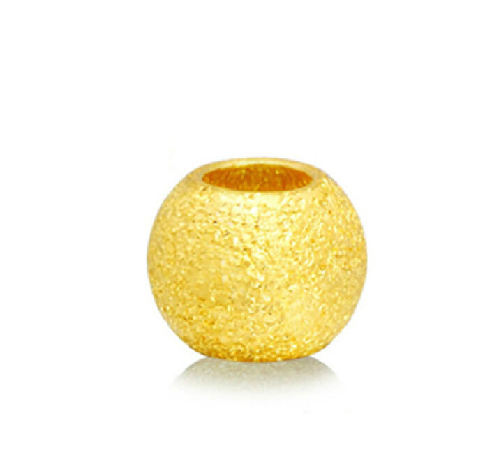 Pure 24K Yellow gold Round Sandstone Loose Beads Pendant