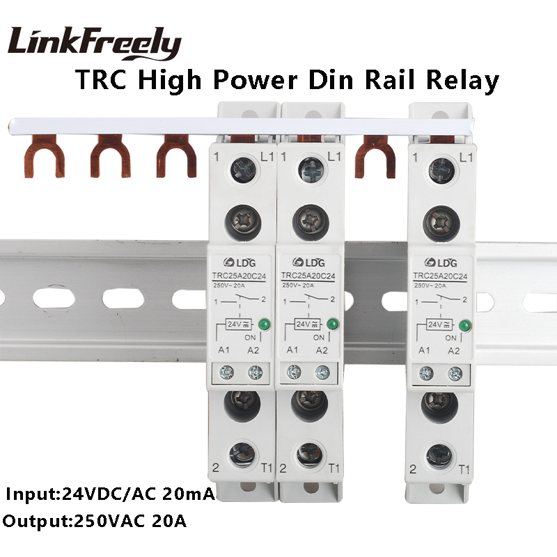TRC-25A20C24 High Power Din Rail Relay 24VDC/AC 20mA Input 250VAC 20A Output Soft Starting Electromagnetic Contact Relay Module
