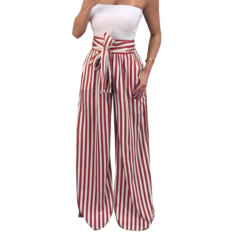 ZADORIN 2019 Summer New Bow Tie Wide Leg Pants Women High Waist Long Striped Pants Loose Casual Boho Trousers Palazzo Pants