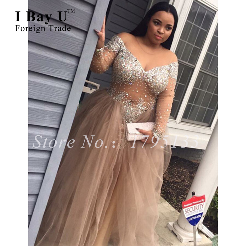 Plus size long sleeve prom dresses online shopping-the world ...
