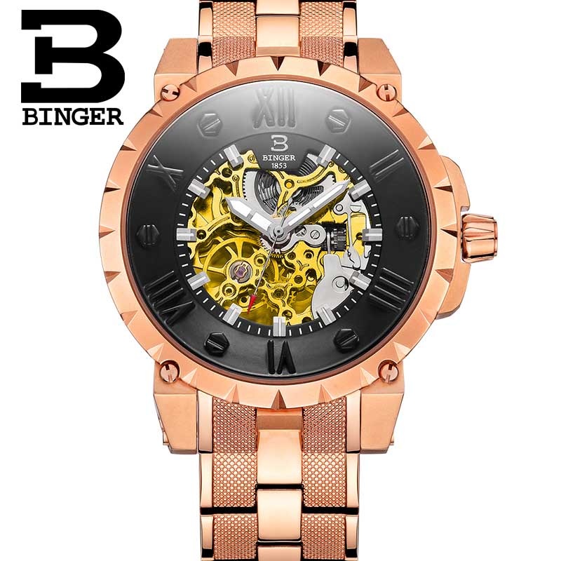 BINGER movement 3D stereoscopic surface Men's luxury waterproof watches automatic mechanical Watch gold steel / leather
