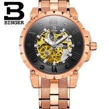 Movimiento de superficie 3D estereoscópicas BINGER relojes de acero de oro Reloj mecánico automático de lujo de Los Hombres a prueba de agua/de cuero