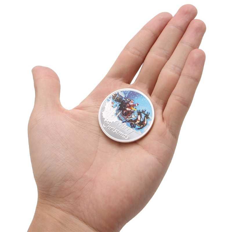 Новый Счастливого Рождества Санта Клаус Посеребренная памятная монета маркер искусство