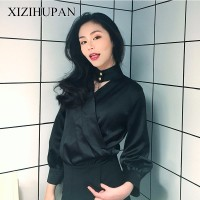 XIZIHUPAN Sexy Halter Female Shirt V Neck Long Sleeve Women S Fashion Blouses Solid Colour Top