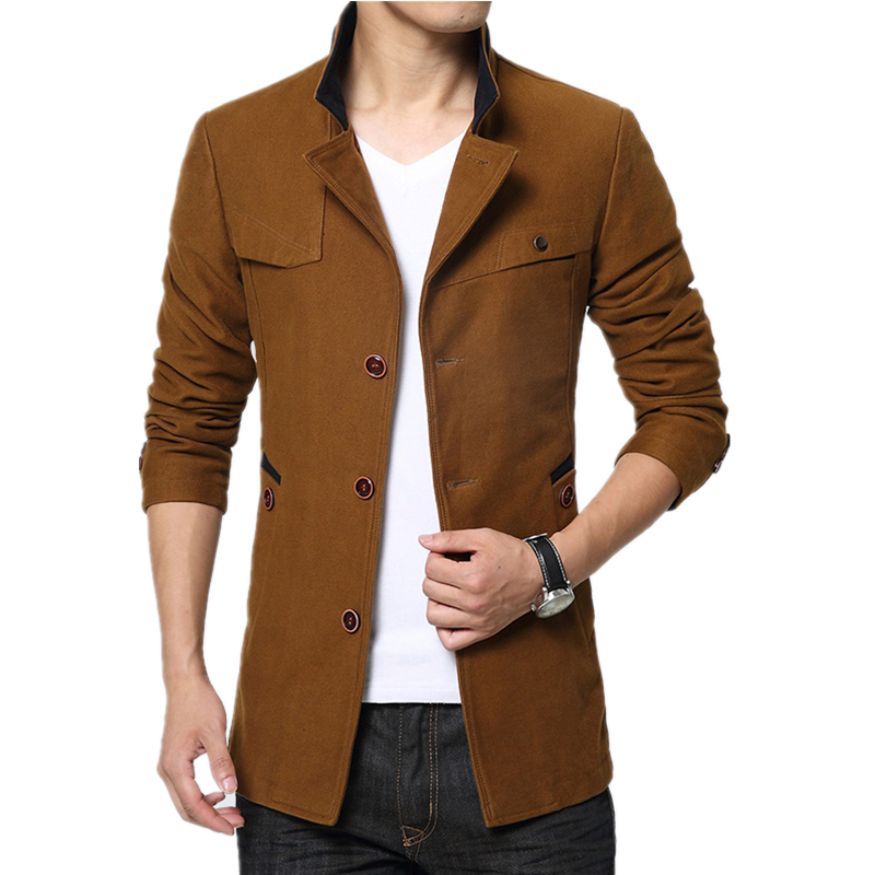 2017 new spring and autumn high quality business casual windbreaker coat male single breasted hooded windbreaker