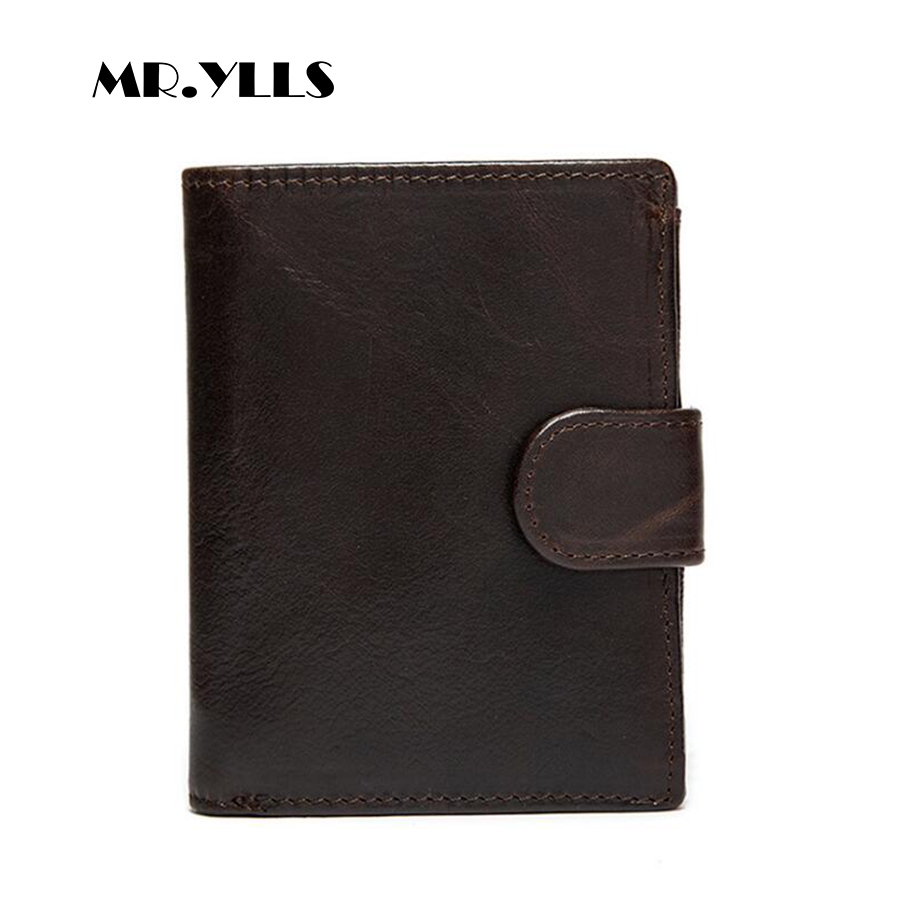 MR.YLLS Genuine Leather Vintage Wallet Men Business Short Brand Card Holder Fashion Wallets Purses Clutch Male Small 2018 New