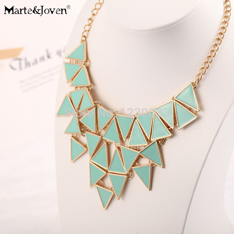 [Marte&Joven] Wholesale Jewelry Classic Boutique Personalized Multilayer Enamel Triangle Chokers Necklace For Women