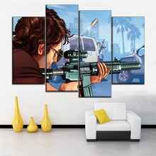 Shooting Hand Painting 4 Panels Game Grand Theft Auto V HD Picture Modern  Home Decorative Wall Art Canvas Print Type Poster
