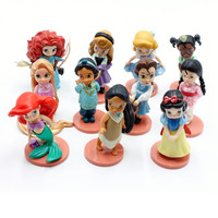 Disney Princess Toys 11pcs 8cm Moana Merida Snow White Action Figures Mulan Rapunzel Tiana Jasmine Dolls Kids Toys For Girl