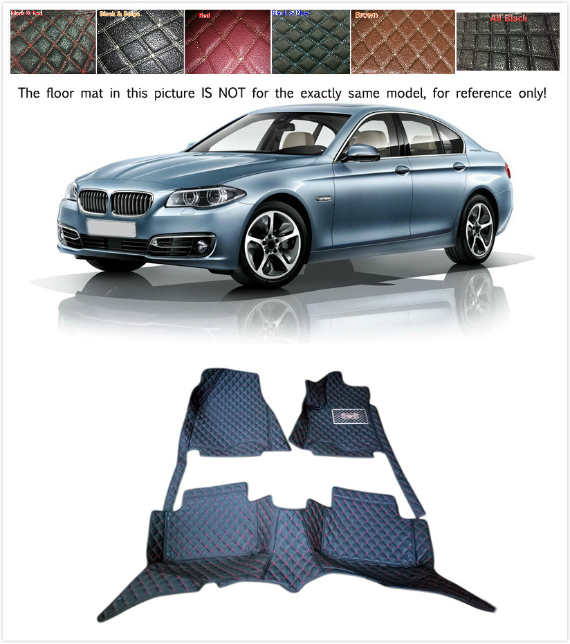 Customs 5 Seats 1 Set Car Floor Mat Leather Waterproof Front & Rear Floor Mats Carpets Pads for BMW 5 Series F10 2014 2015 2016 customs 5 seats 1 set car floor mat leather waterproof front