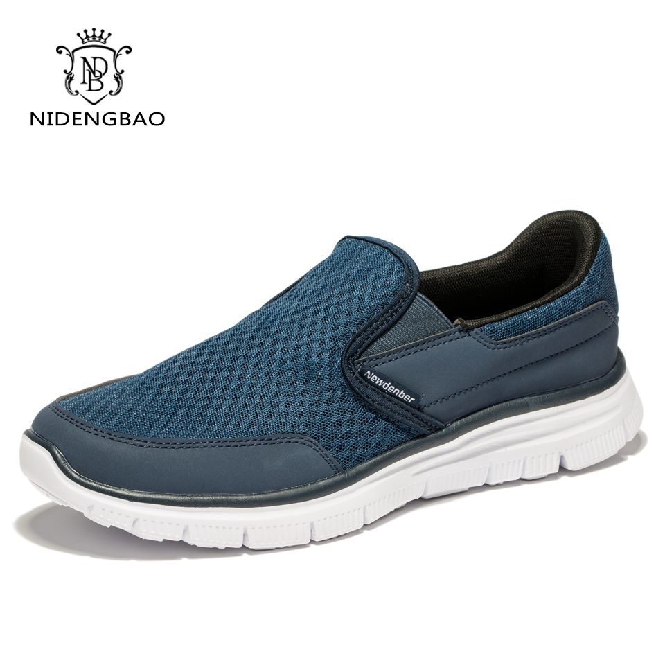 High Quality Summer Mænds Casual Shoes Air Mesh Pustende Flade Sko til Mænd Komfortabelt Walking Fodtøj Plus Stor Størrelse 47 48