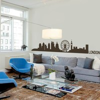 London Skyline Wall Decal decor Livingroom Vinyl wall Sticker Arts Europe City Wall Decals England Home decoration 14H X96W