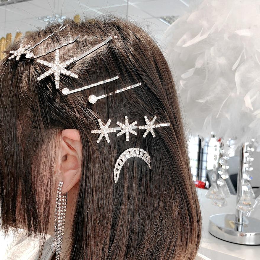 New Fashion Set Clip Women Shiny Crystal Rhinestones Hair Barrette Pearl Hairpin Girls Accessories