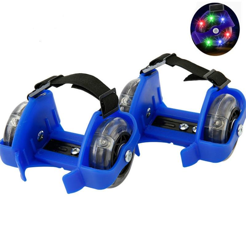Children Colorful Flashing Roller Pulley Flash Wheels Heel Roller Skate Adjustable Simply Roller Skating Shoe For Kids