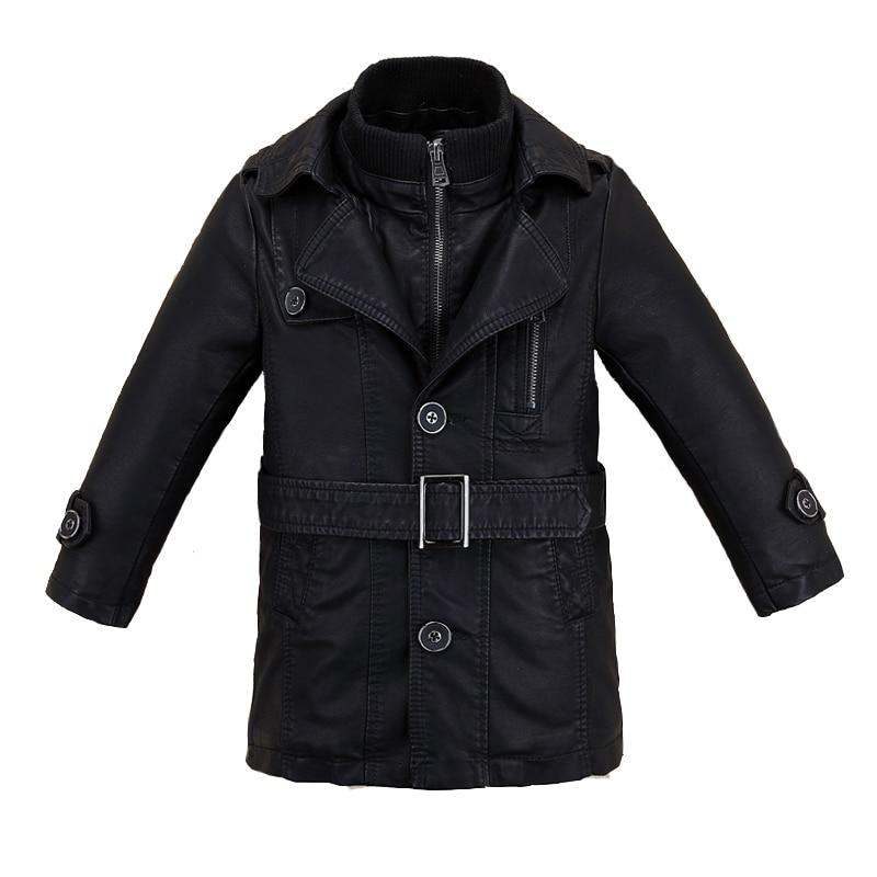 Long Version Big Boys Leather Jacket Fleece Thicken Kids Children's Coat Clothes